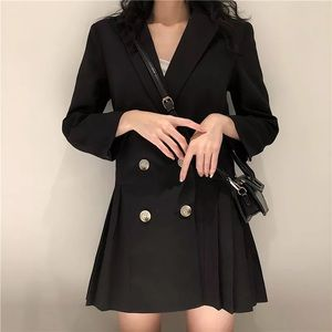 Black tailored double breasted blazer dress size s